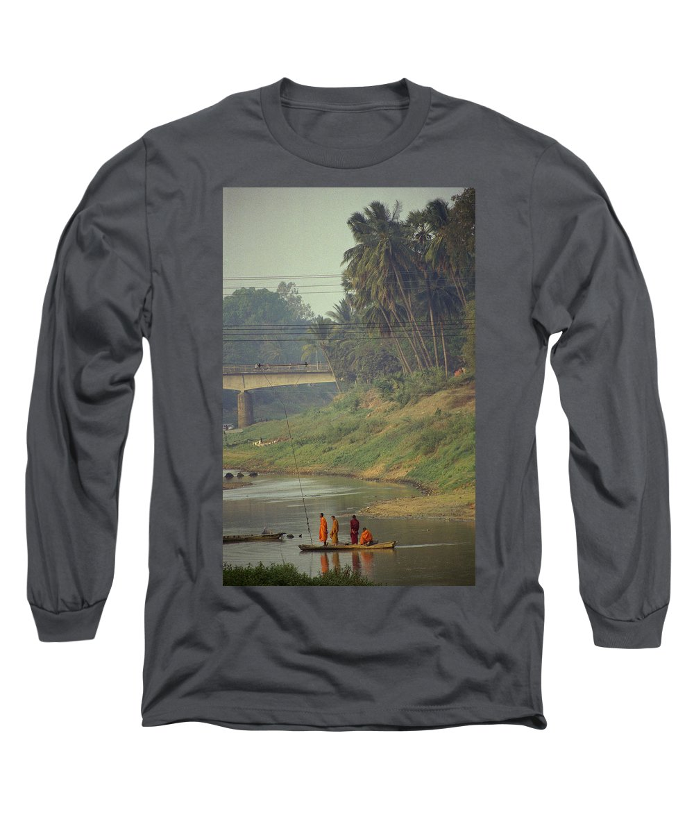 Monks Long Sleeve T-Shirt featuring the photograph Monks - Battambang by Patrick Klauss