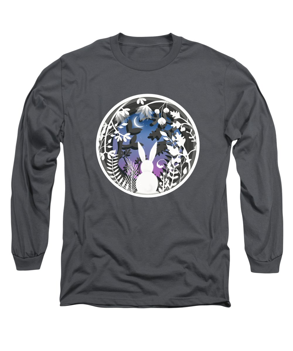 Rabbit Long Sleeve T-Shirt featuring the painting Moonlight Bunny Star Gazer by Little Bunny Sunshine