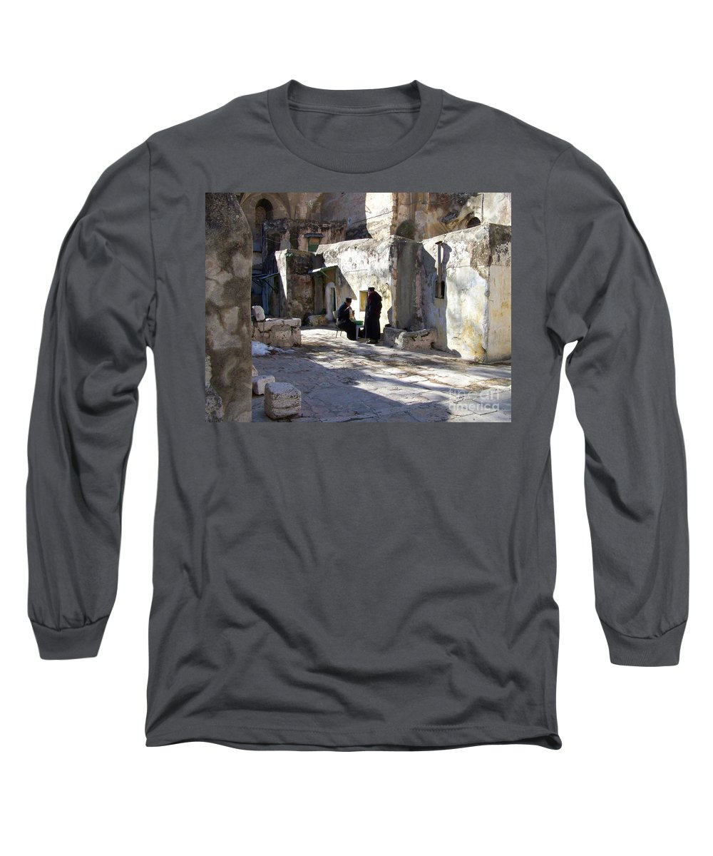 Jerusalem Long Sleeve T-Shirt featuring the photograph Morning Conversation by Kathy McClure