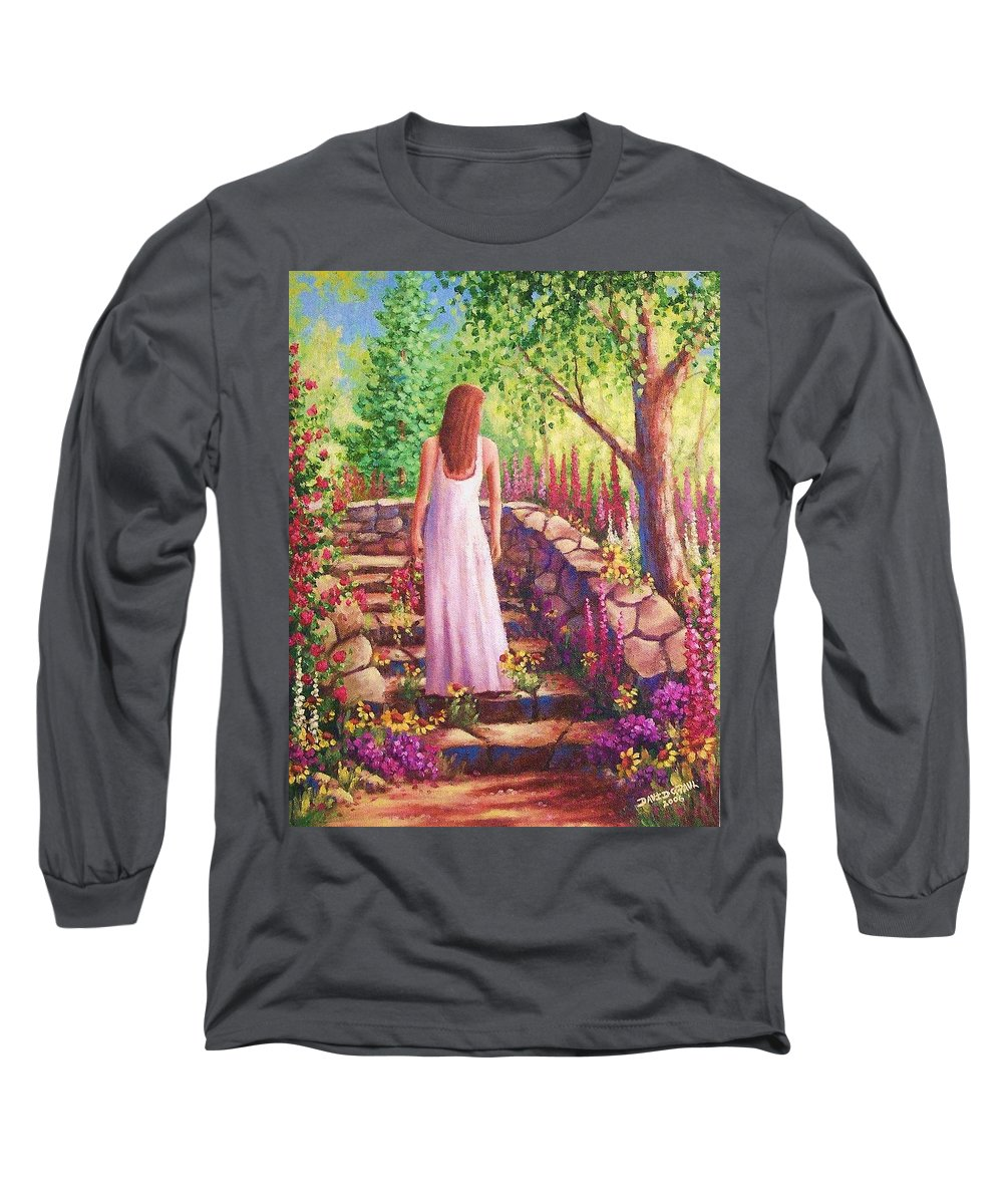 Woman Long Sleeve T-Shirt featuring the painting Morning In Her Garden by David G Paul