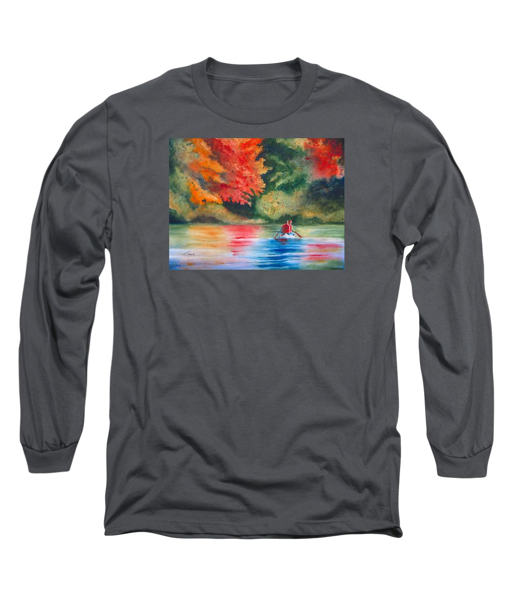 Lake Long Sleeve T-Shirt featuring the painting Morning On The Lake by Karen Stark