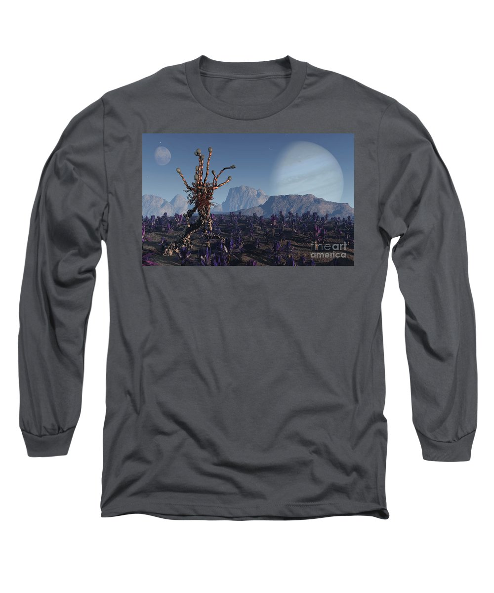 Alien Long Sleeve T-Shirt featuring the digital art Morning Stroll by Richard Rizzo