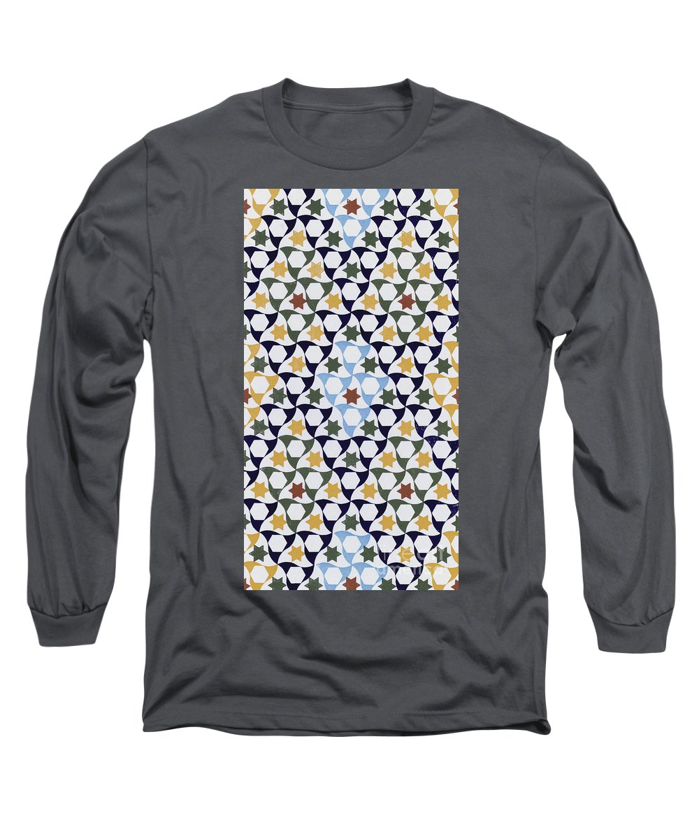 North African Long Sleeve T-Shirt featuring the drawing Mosaic From The Portico Of The Generalife by Spanish School