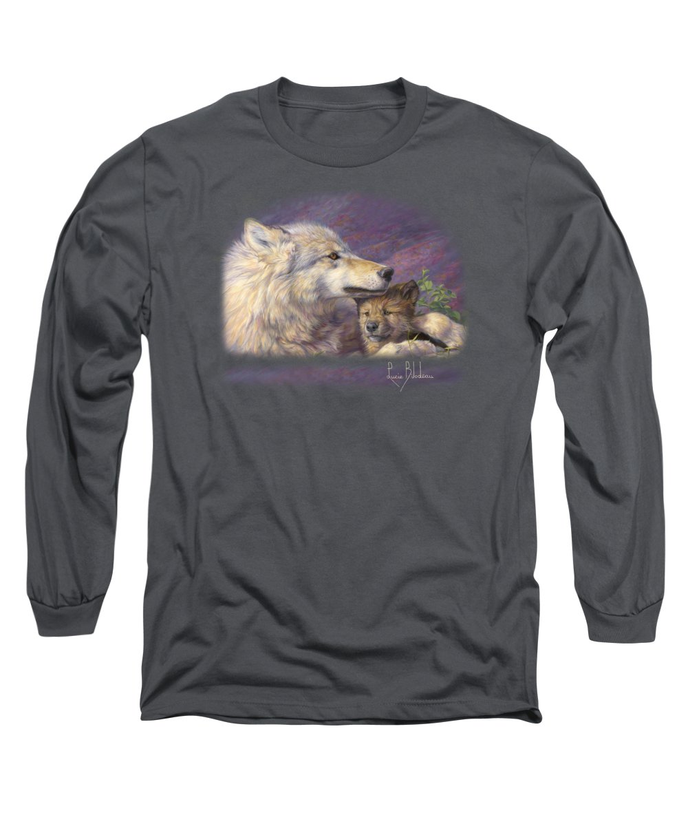 Wolf Long Sleeve T-Shirt featuring the painting Mother's Love by Lucie Bilodeau