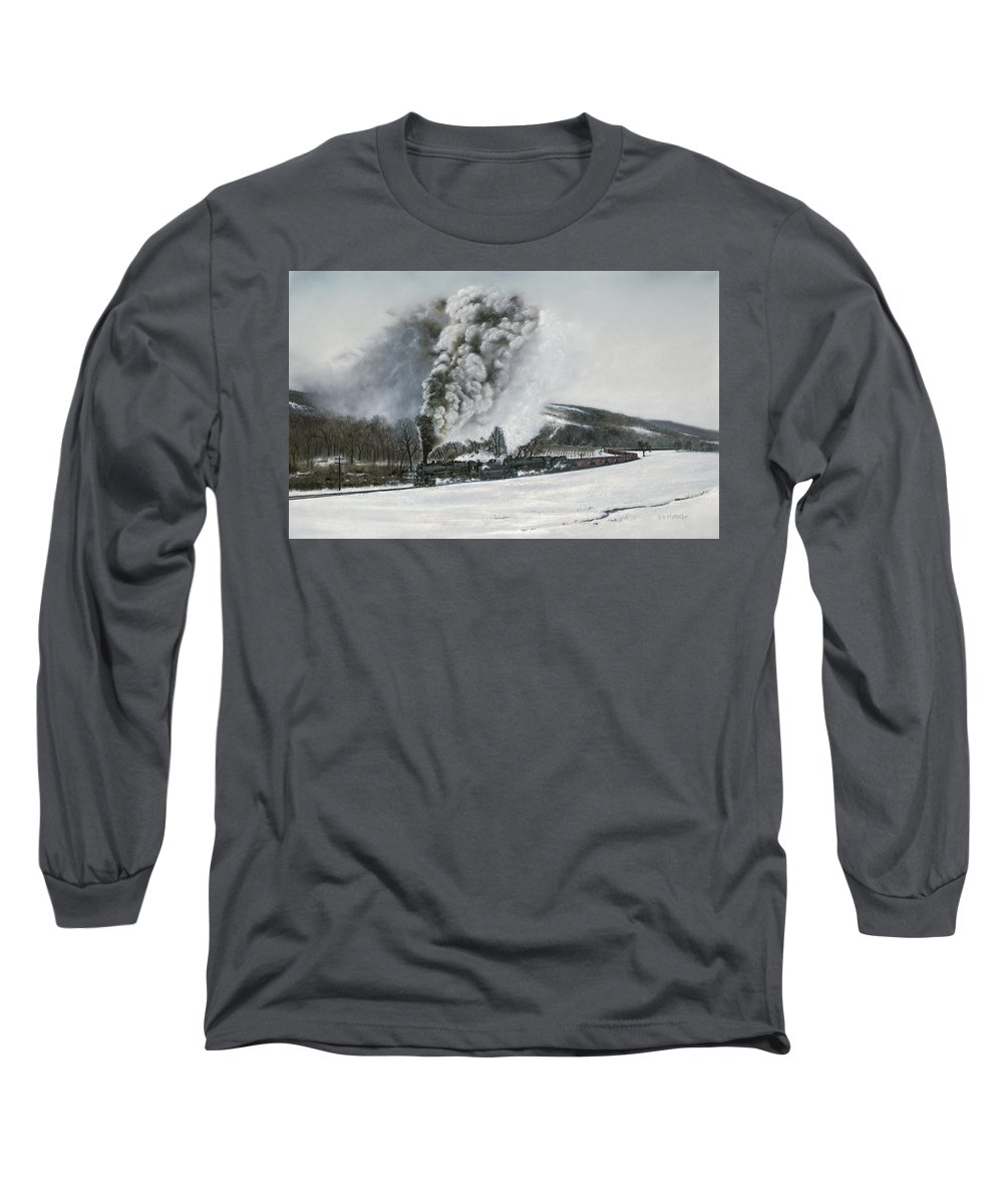 Trains Long Sleeve T-Shirt featuring the painting Mount Carmel Eruption by David Mittner