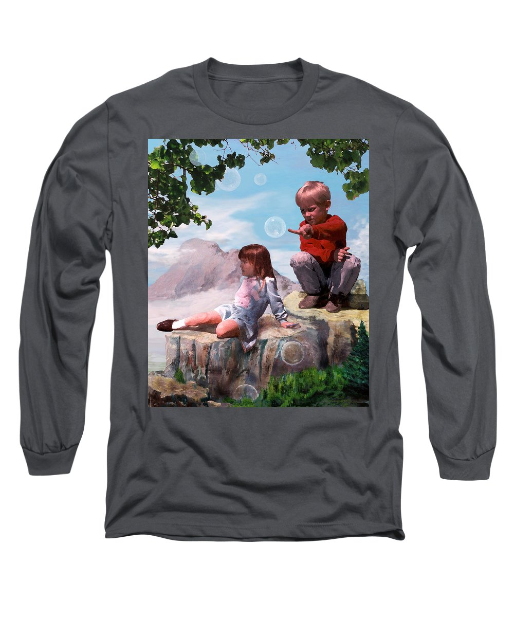 Landscape Long Sleeve T-Shirt featuring the painting Mount Innocence by Steve Karol