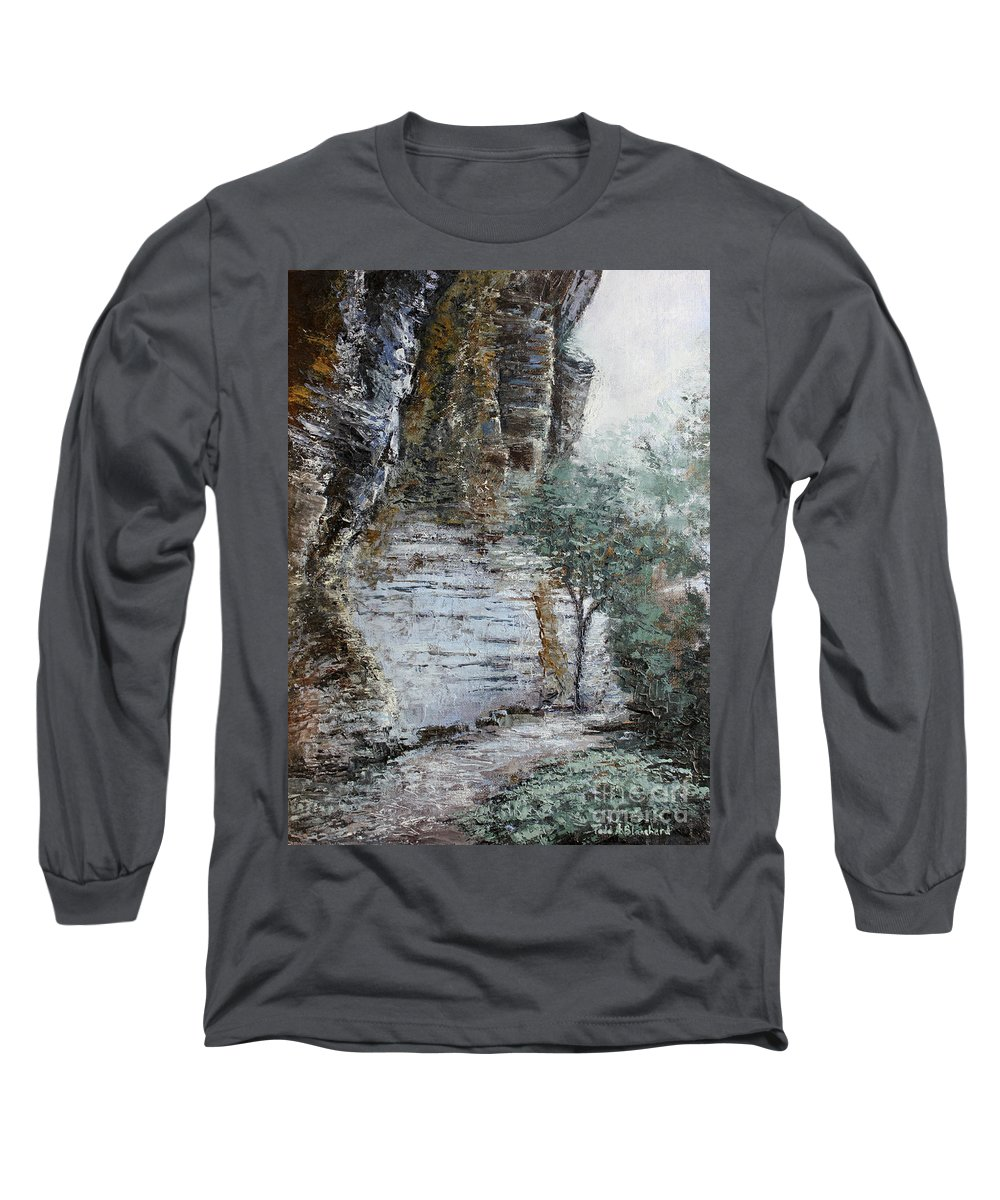 Landscape Long Sleeve T-Shirt featuring the painting Mountain Pass by Todd Blanchard