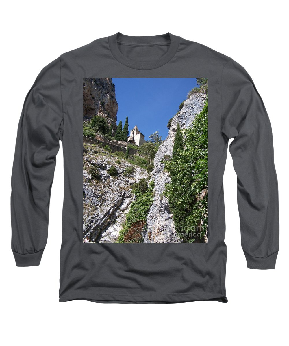 Church Long Sleeve T-Shirt featuring the photograph Moustier St. Marie Church by Nadine Rippelmeyer