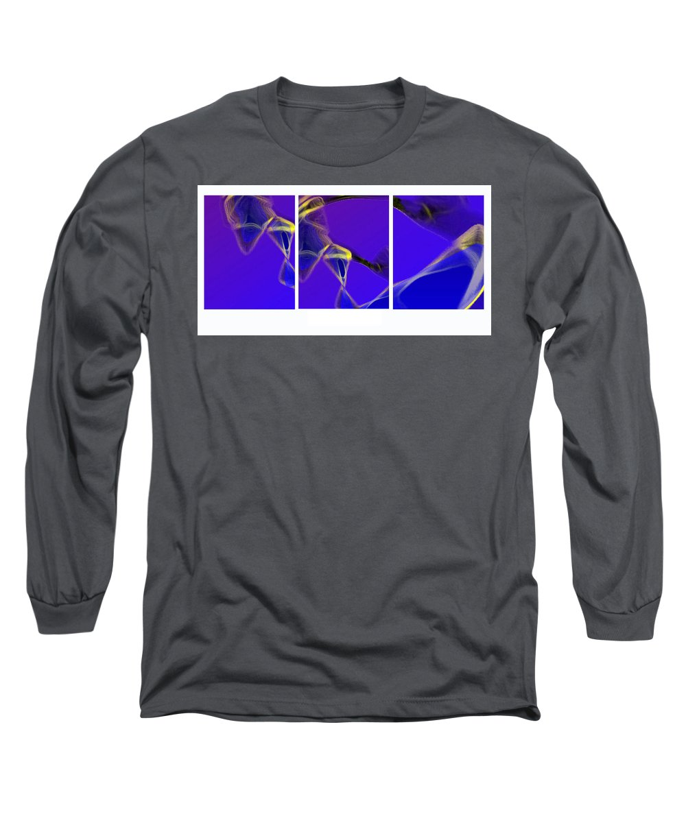 Abstract Long Sleeve T-Shirt featuring the digital art Movement In Blue by Steve Karol