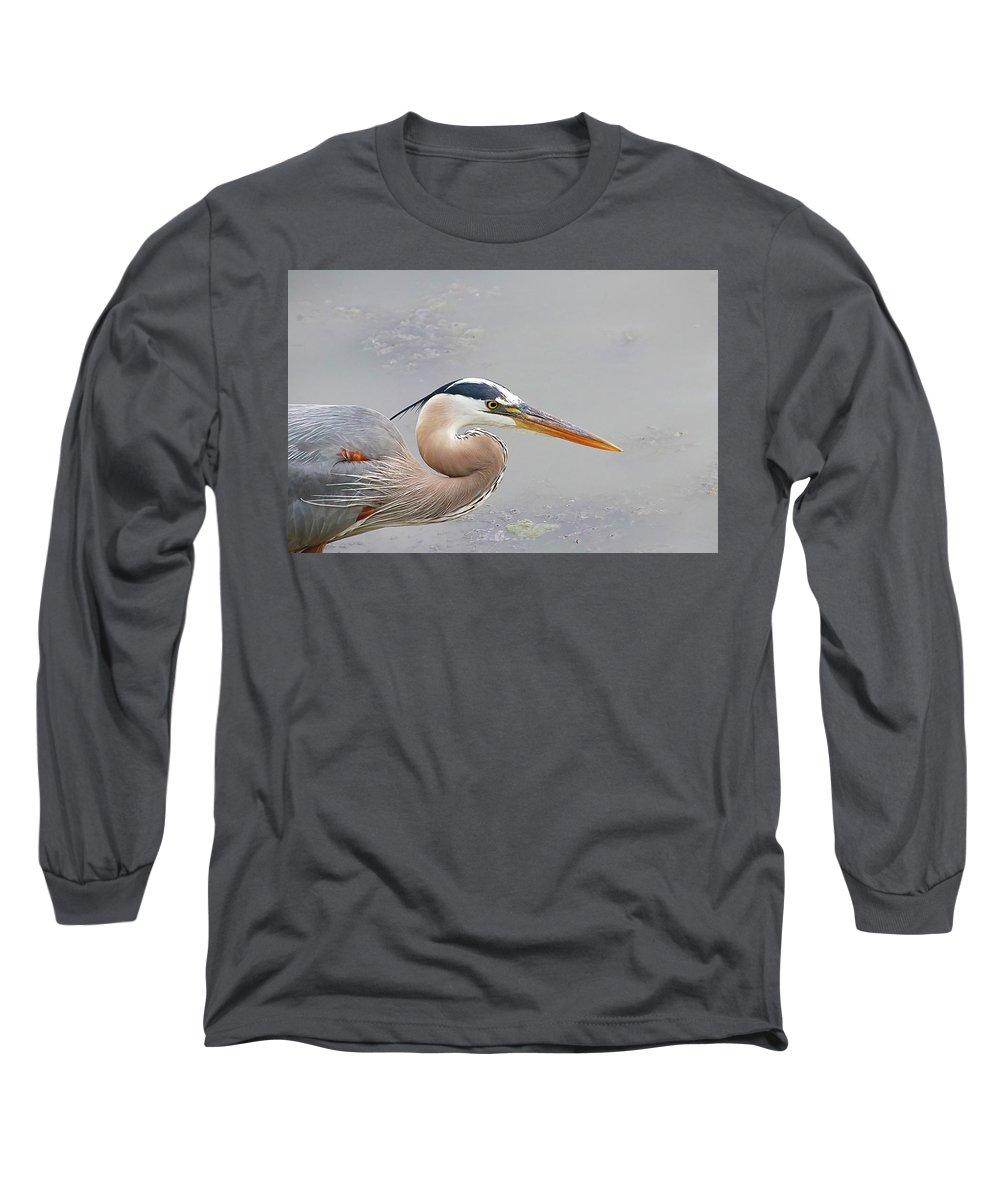 Long Sleeve T-Shirt featuring the photograph Mr. Heron by Tony Umana