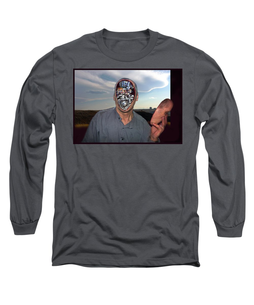 Surrealism Long Sleeve T-Shirt featuring the digital art Mr. Robot-otto by Otto Rapp