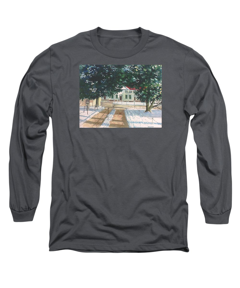 Landscape Long Sleeve T-Shirt featuring the painting Mt. Vernon After The Visitors Have All Gone Home by Tom Harris