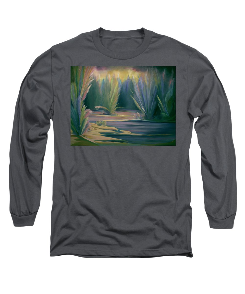 Feathers Long Sleeve T-Shirt featuring the painting Mural Field Of Feathers by Nancy Griswold