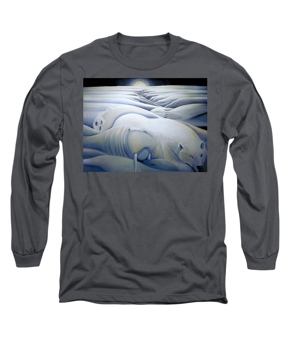 Mural Long Sleeve T-Shirt featuring the painting Mural Winters Embracing Crevice by Nancy Griswold