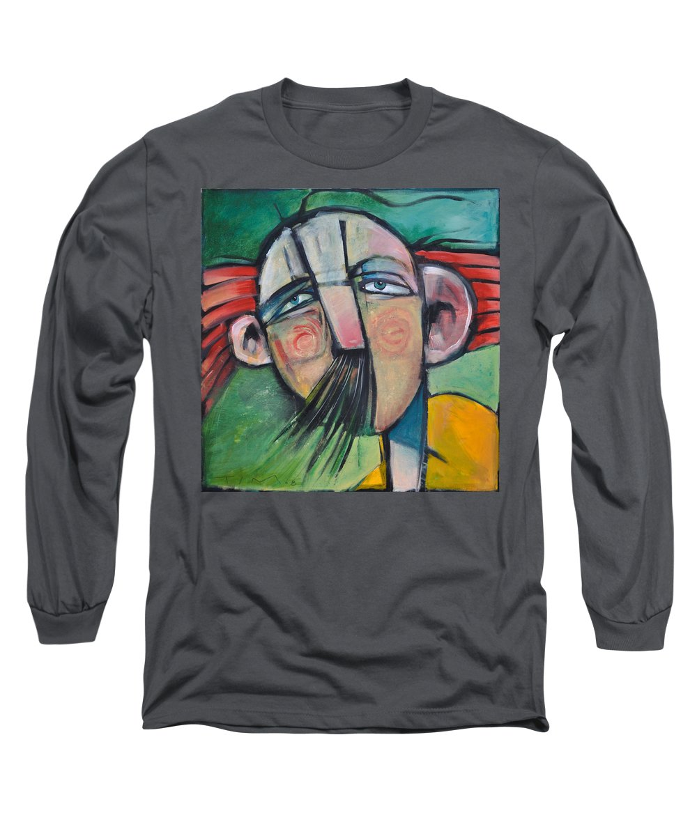 Humor Long Sleeve T-Shirt featuring the painting Mustached Man In Wind by Tim Nyberg