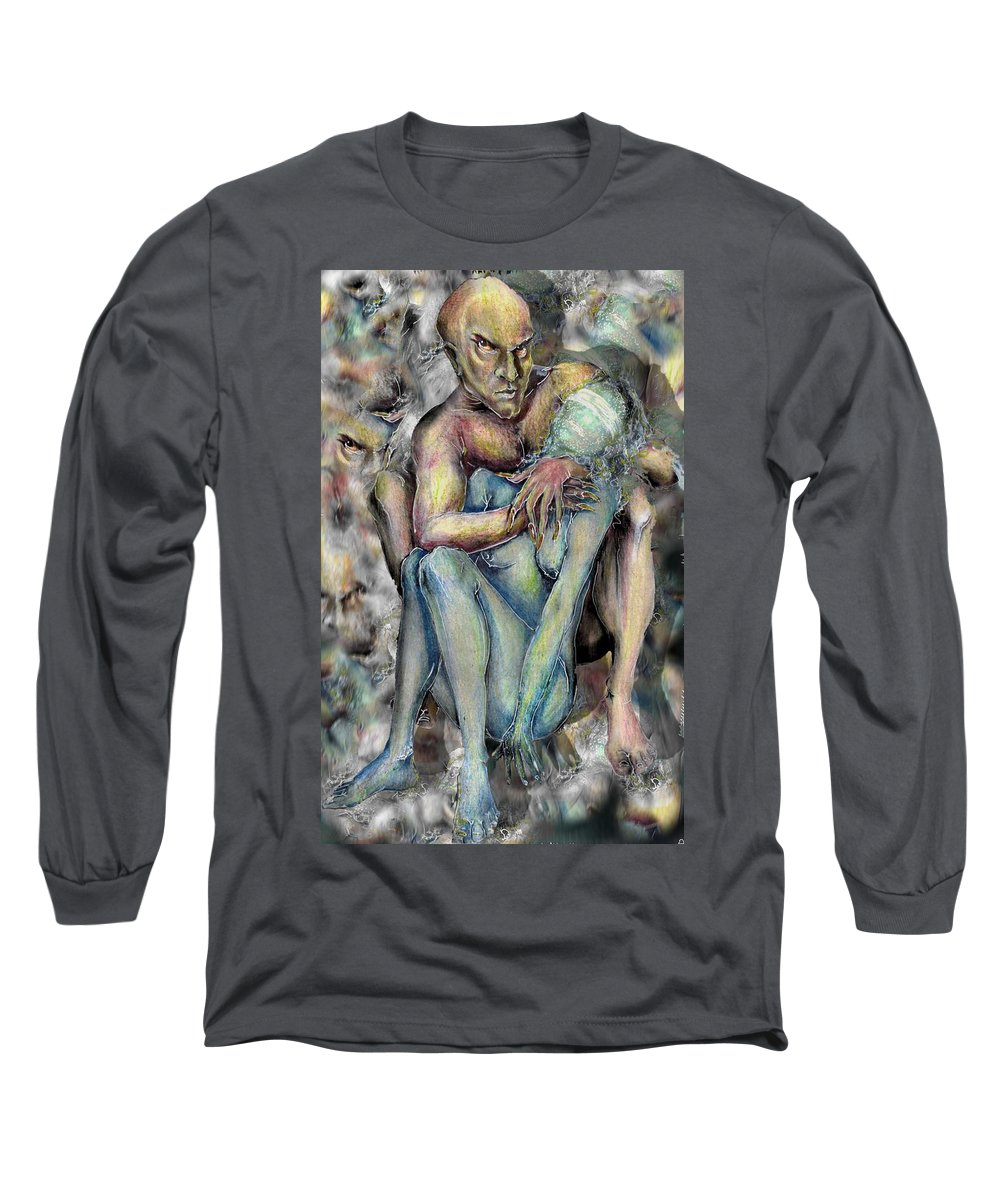Demons Love Passion Control Posession Woman Lust Long Sleeve T-Shirt featuring the mixed media My Precious by Veronica Jackson