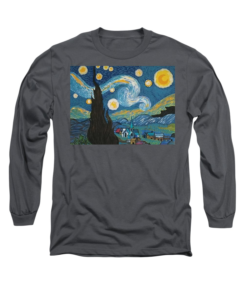 Vincent Long Sleeve T-Shirt featuring the painting My Starry Nite by Angela Miles Varnado