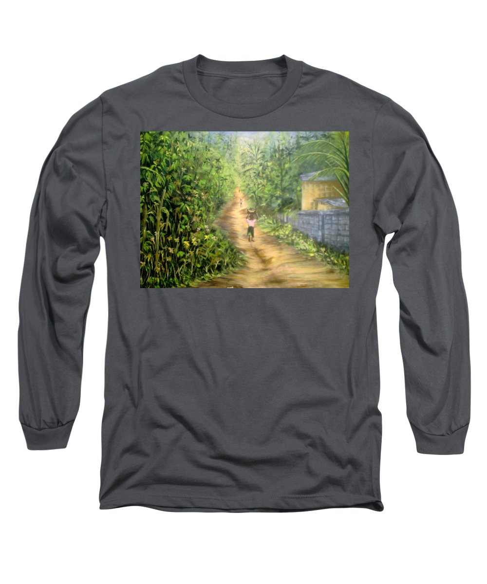 Culture Long Sleeve T-Shirt featuring the painting My Village by Olaoluwa Smith