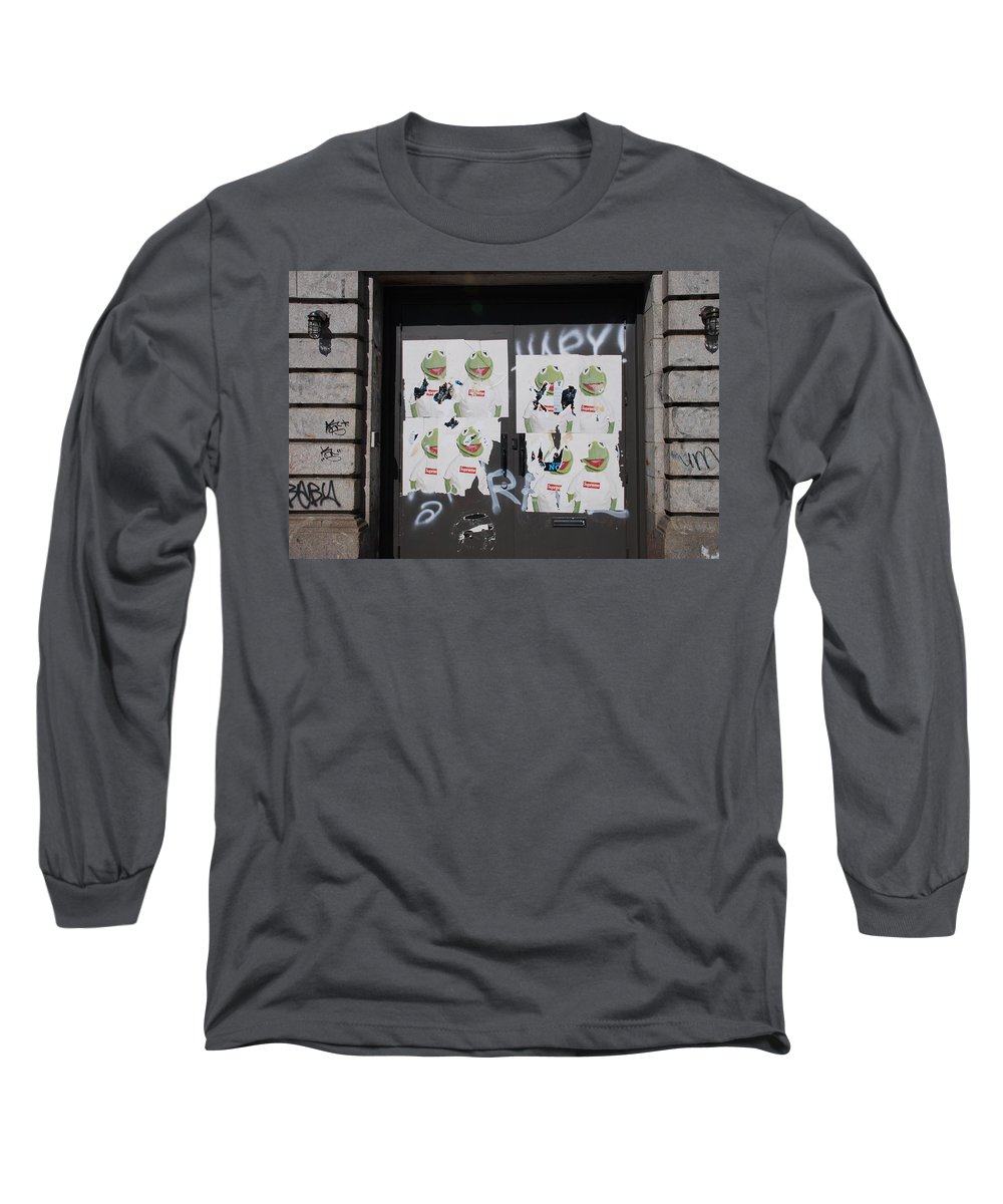 Kermit The Frog Long Sleeve T-Shirt featuring the photograph N Y C Kermit by Rob Hans