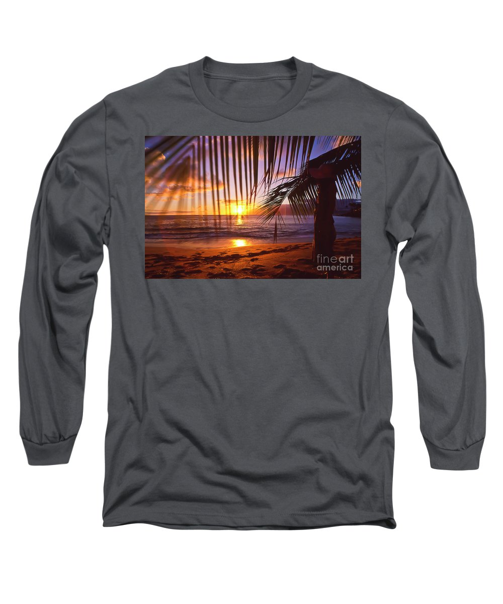 Sunset Long Sleeve T-Shirt featuring the photograph Napili Bay Sunset Maui Hawaii by Jim Cazel