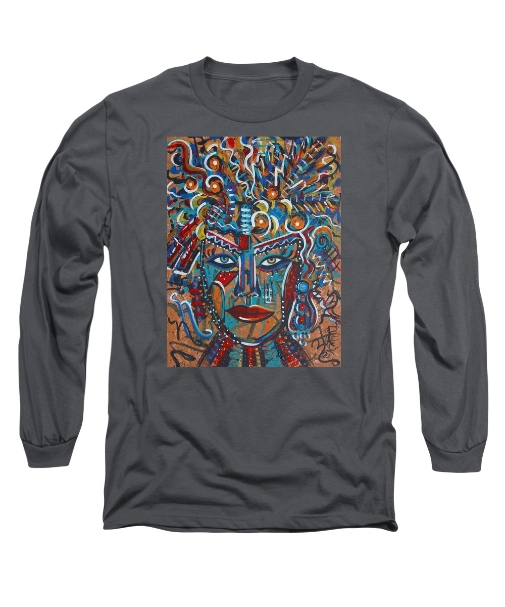 Abstract Long Sleeve T-Shirt featuring the painting Nataliana by Natalie Holland