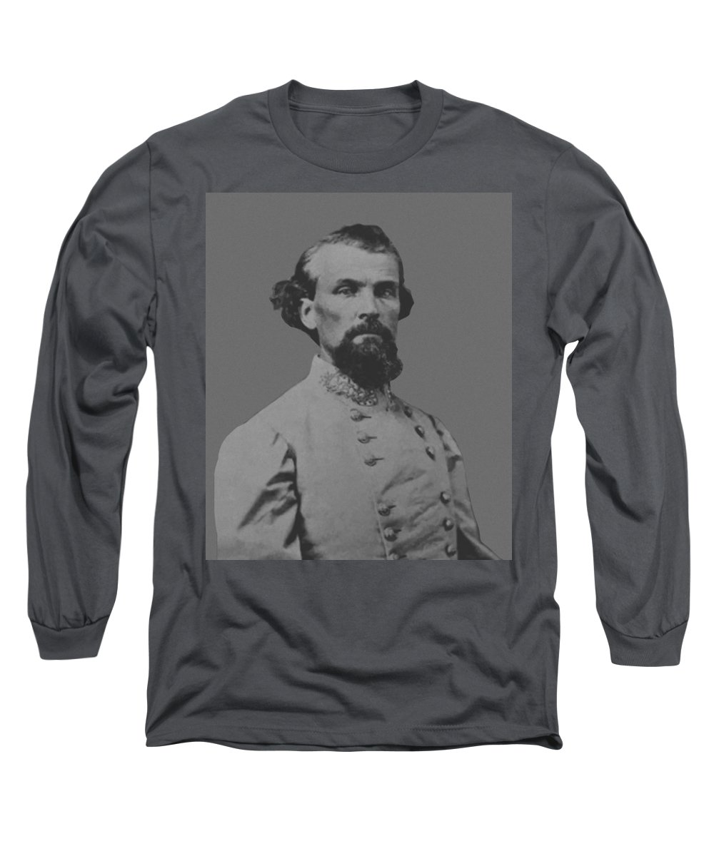 Nathan Bedford Forrest Long Sleeve T-Shirt featuring the painting Nathan Bedford Forrest by War Is Hell Store