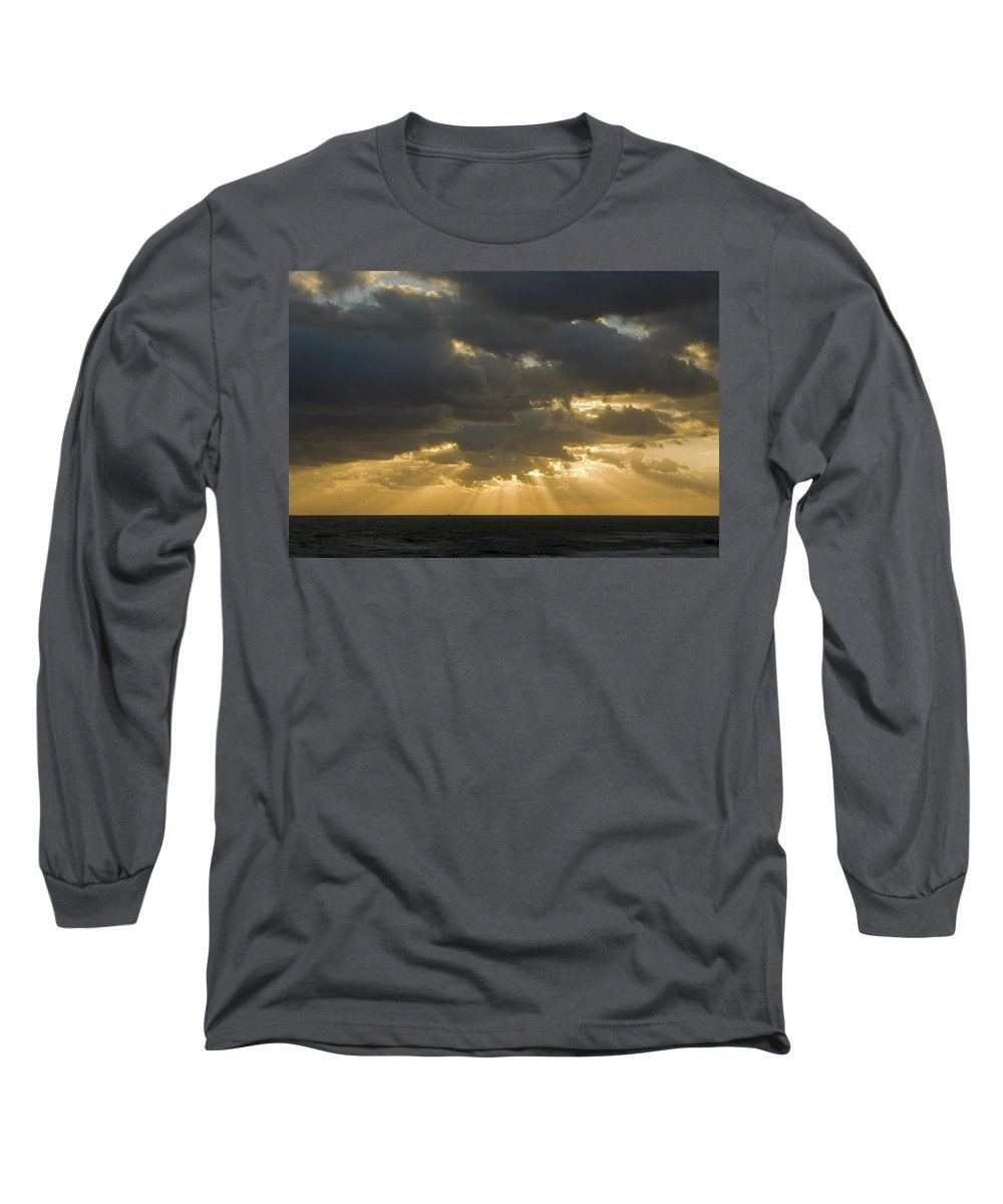 Ocean Sunset Sun Cloud Clouds Ray Rays Beam Beams Bright Wave Waves Water Sea Beach Golden Nature Long Sleeve T-Shirt featuring the photograph New Beginning by Andrei Shliakhau