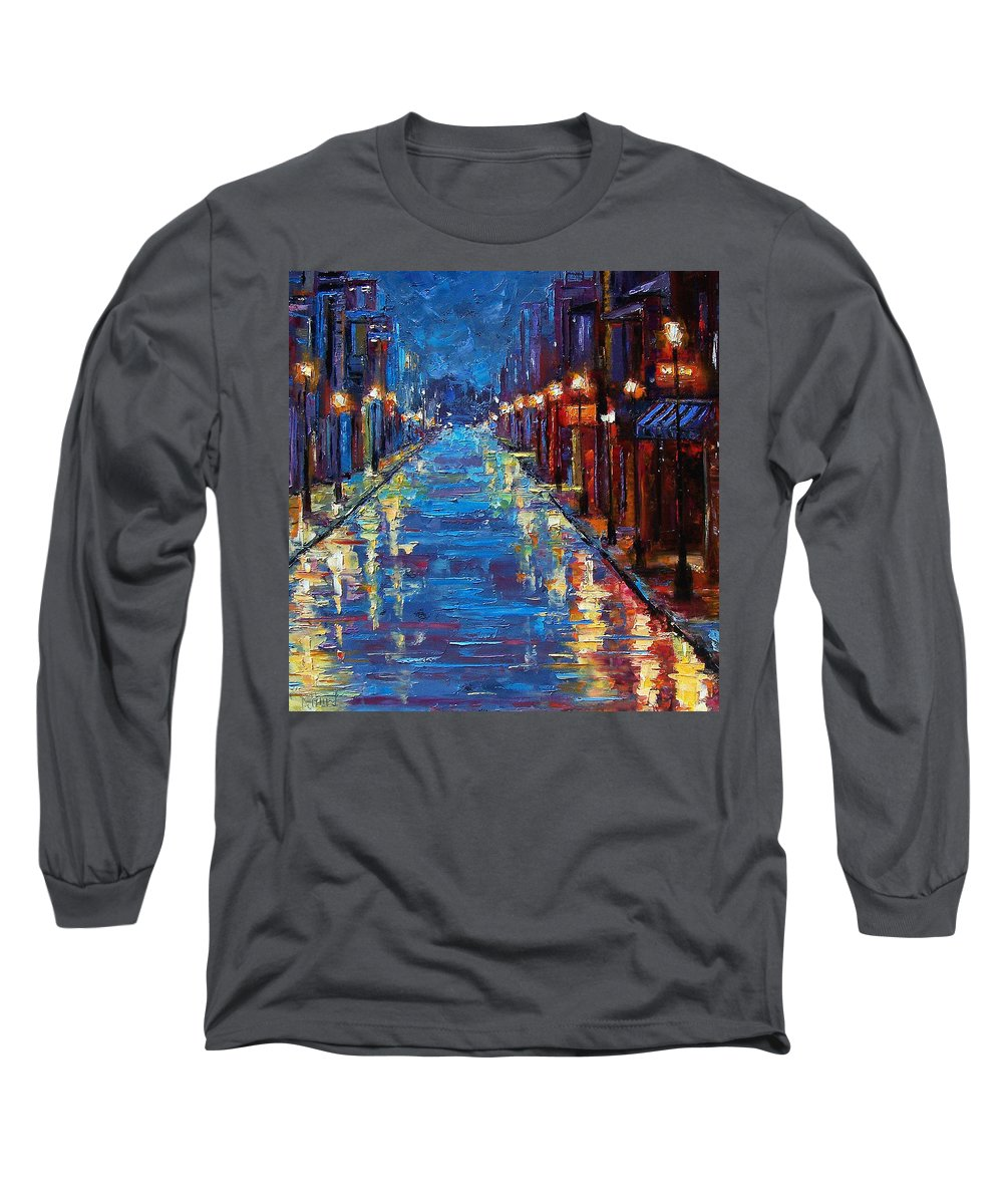 Cityscape Long Sleeve T-Shirt featuring the painting New Orleans Bourbon Street by Debra Hurd