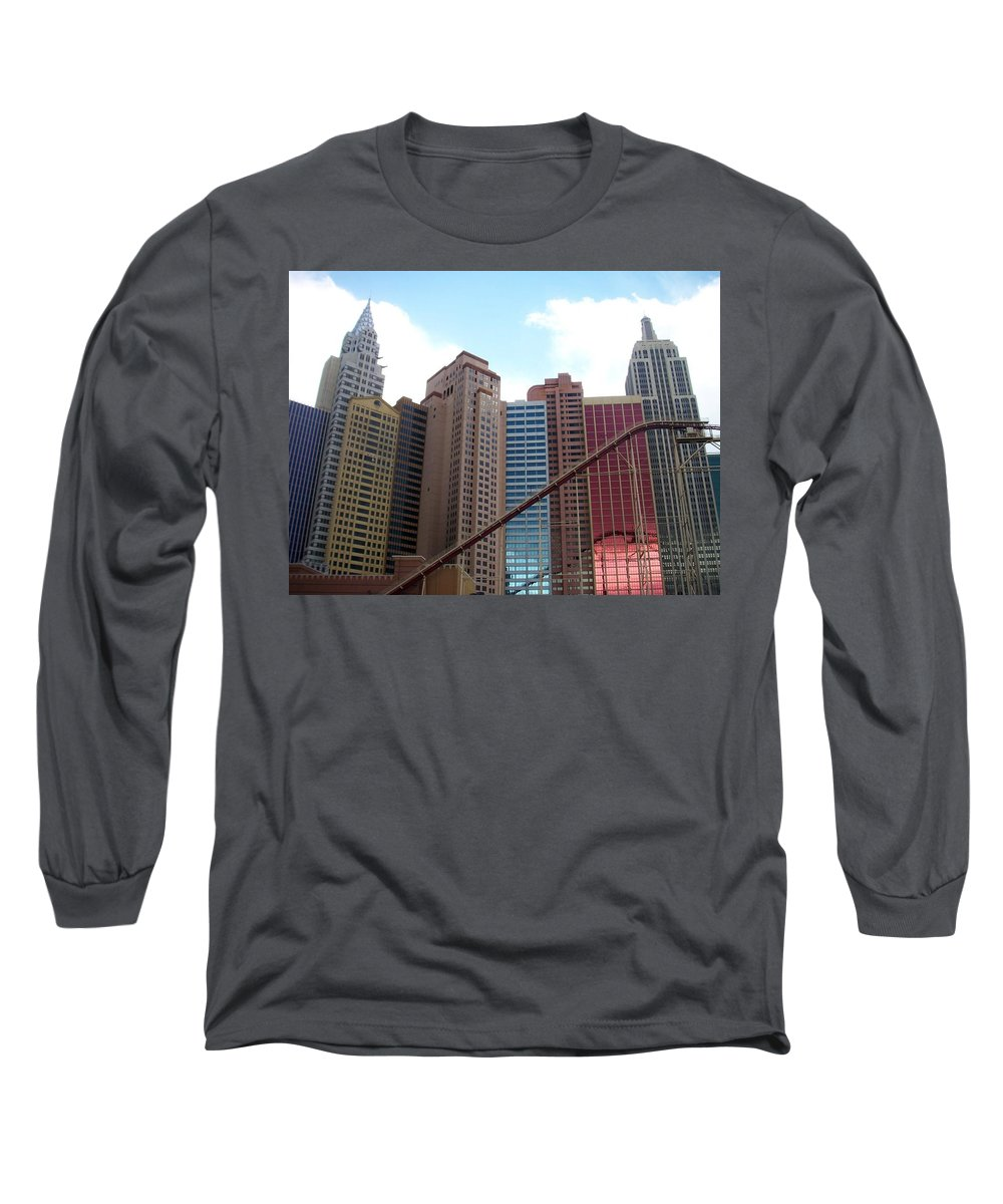 Vegas Long Sleeve T-Shirt featuring the photograph New York Hotel With Clouds by Anita Burgermeister