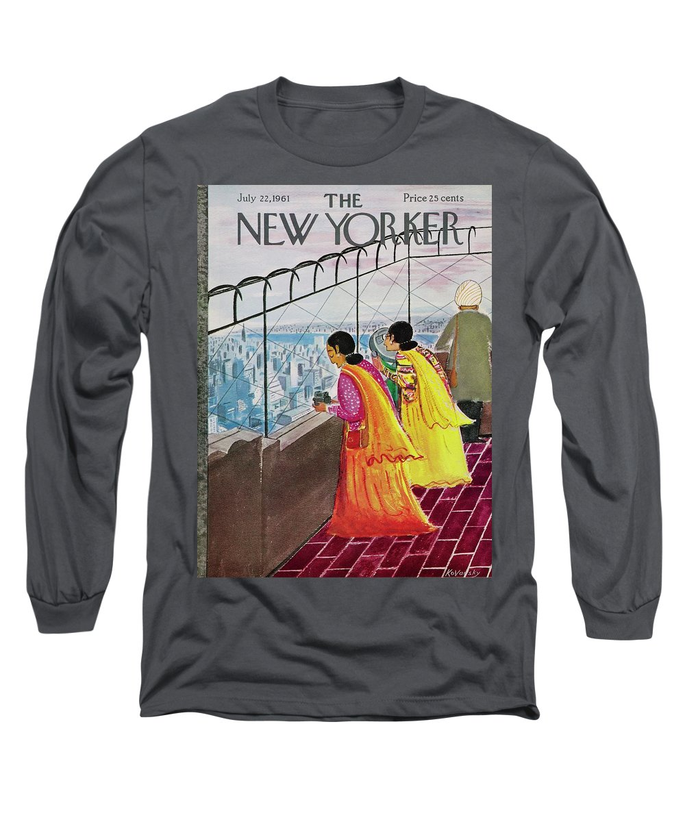 Illustration Long Sleeve T-Shirt featuring the drawing New Yorker July 22 1961 by Anatole Kovarsky