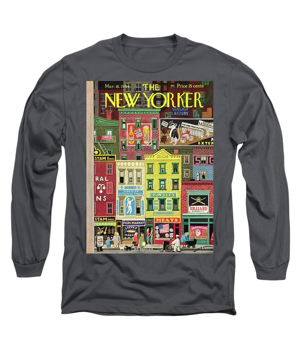 Street Long Sleeve T-Shirt featuring the painting New Yorker March 18 1944 by Witold Gordon