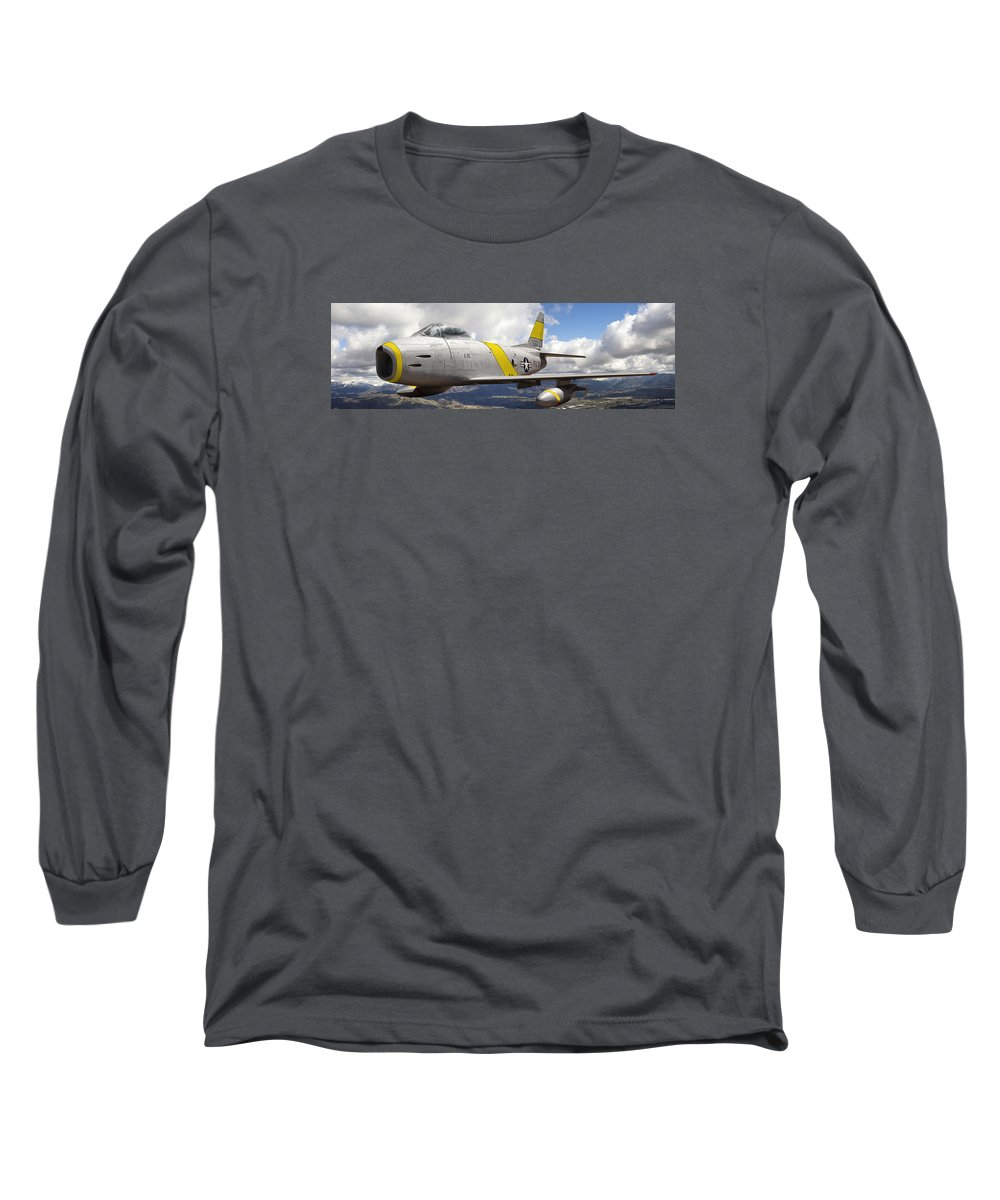 F-86 Sabre Long Sleeve T-Shirt featuring the photograph North American F-86 Sabre by Larry McManus