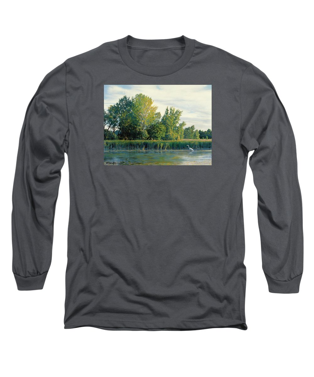 Great Egret Long Sleeve T-Shirt featuring the drawing North Of The Grade-great Egret by Bruce Morrison