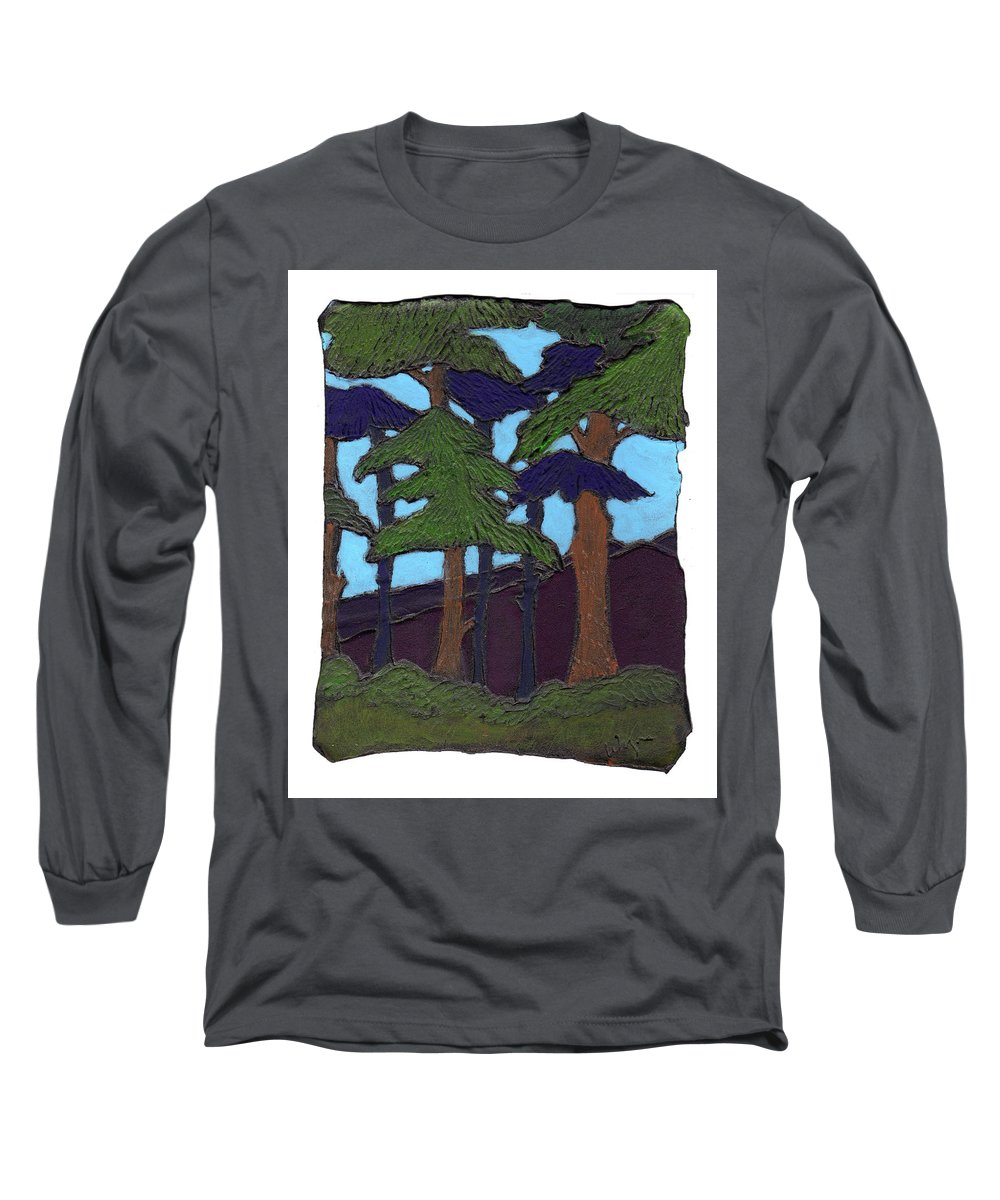 Tree Long Sleeve T-Shirt featuring the painting Northern Woods by Wayne Potrafka