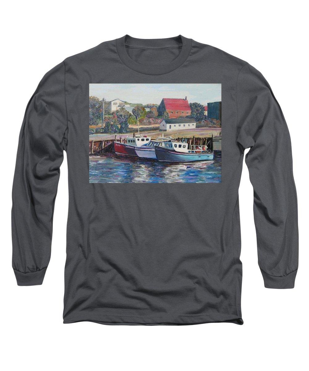 Nova Scotia Long Sleeve T-Shirt featuring the painting Nova Scotia Boats by Richard Nowak