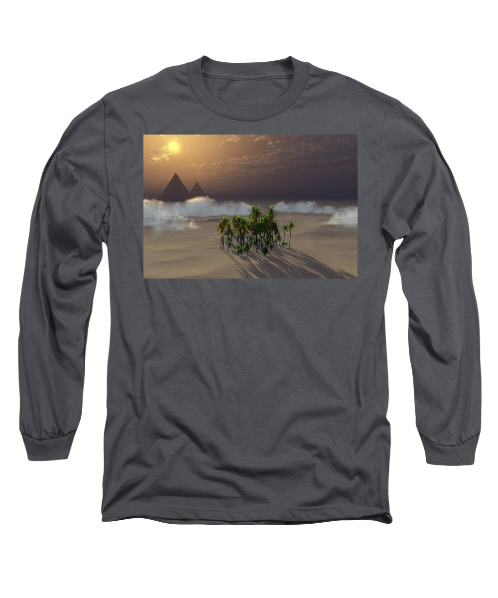 Deserts Long Sleeve T-Shirt featuring the digital art Oasis by Richard Rizzo