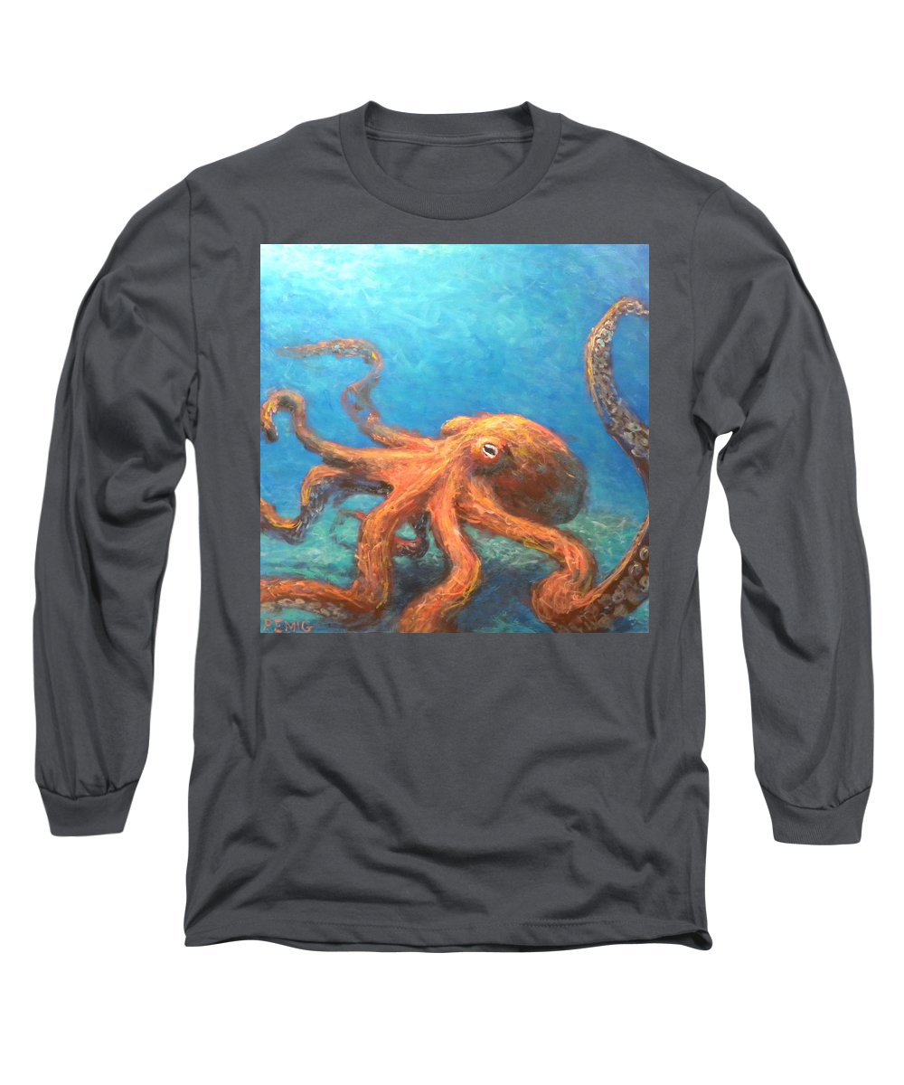 Octopus Long Sleeve T-Shirt featuring the painting Octopus by Paul Emig