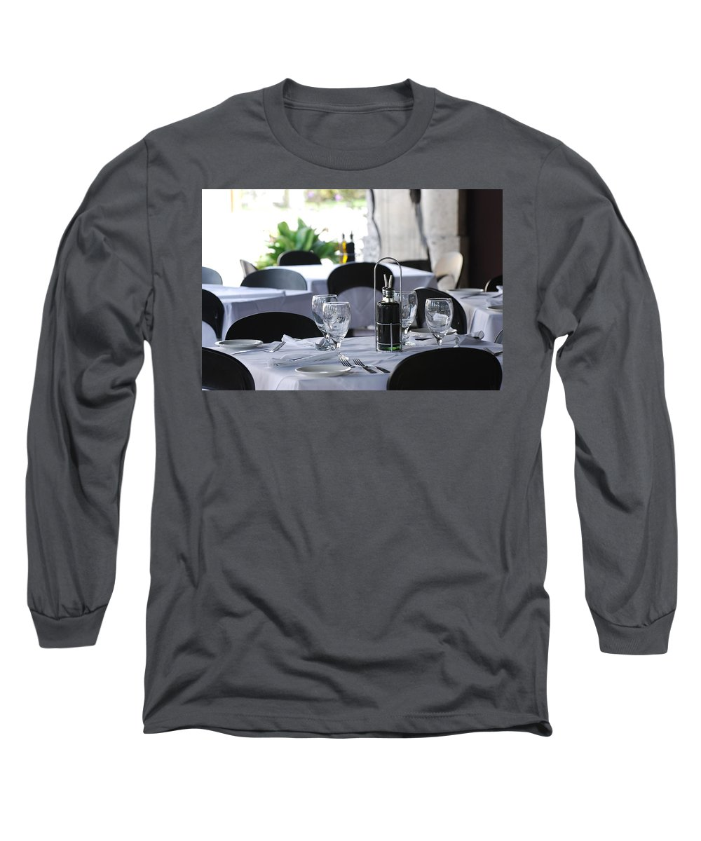 Tables Long Sleeve T-Shirt featuring the photograph Oils And Glass At Dinner by Rob Hans