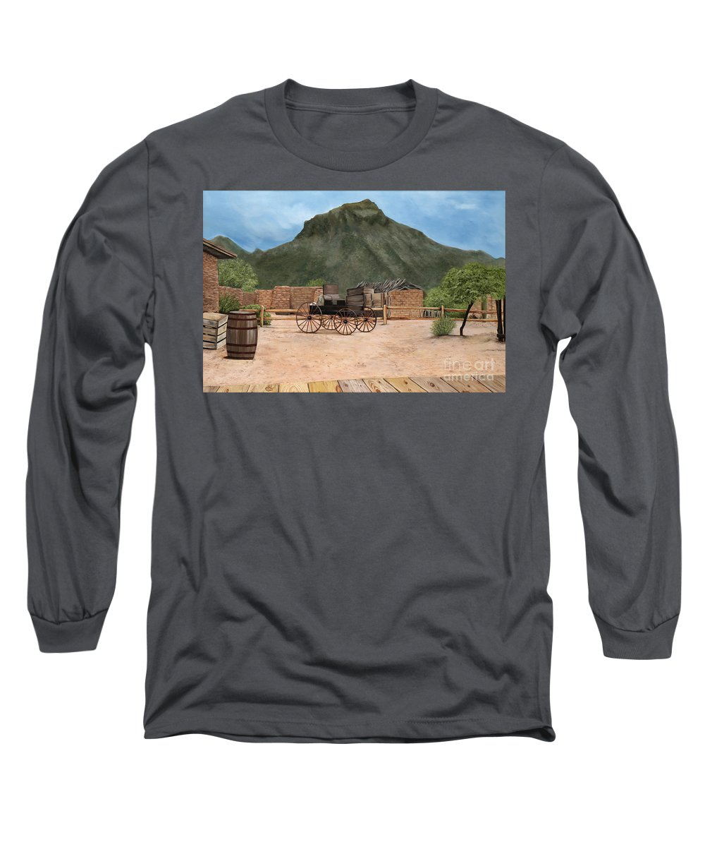 Art Long Sleeve T-Shirt featuring the painting Old Tucson by Mary Rogers