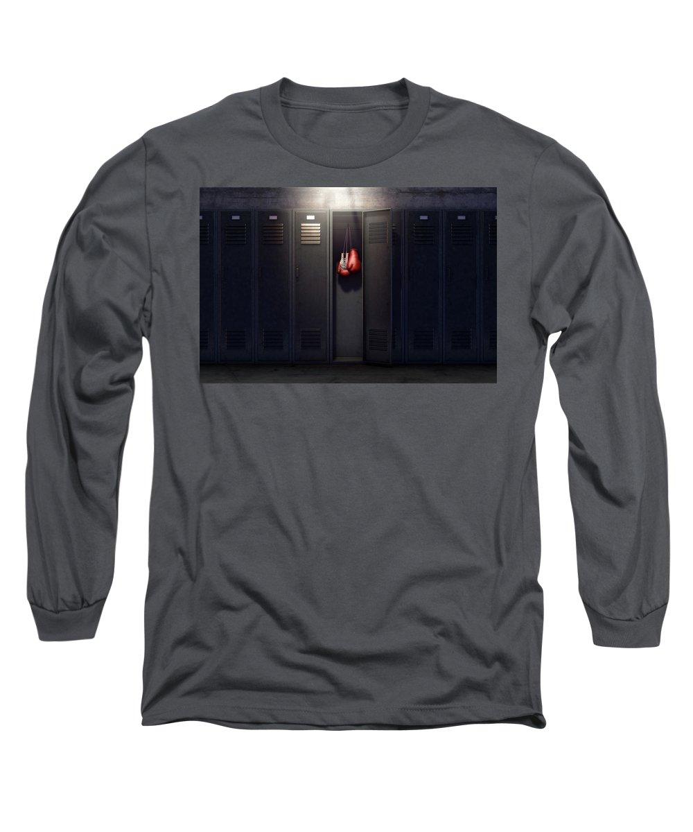 Locker Long Sleeve T-Shirt featuring the digital art Open Locker And Hung Up Boxing Gloves by Allan Swart