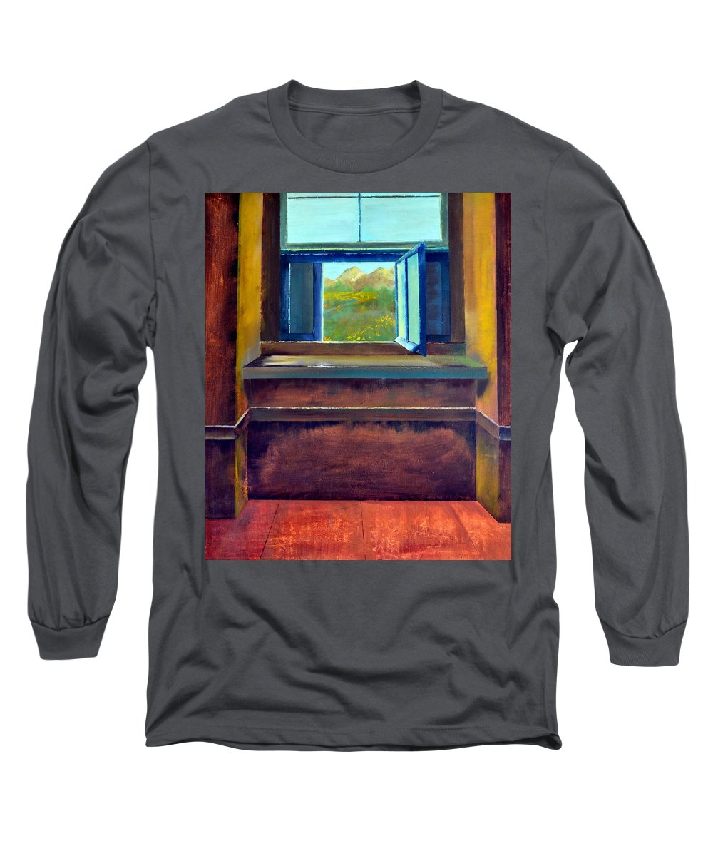 Trompe L'oeil Long Sleeve T-Shirt featuring the painting Open Window by Michelle Calkins