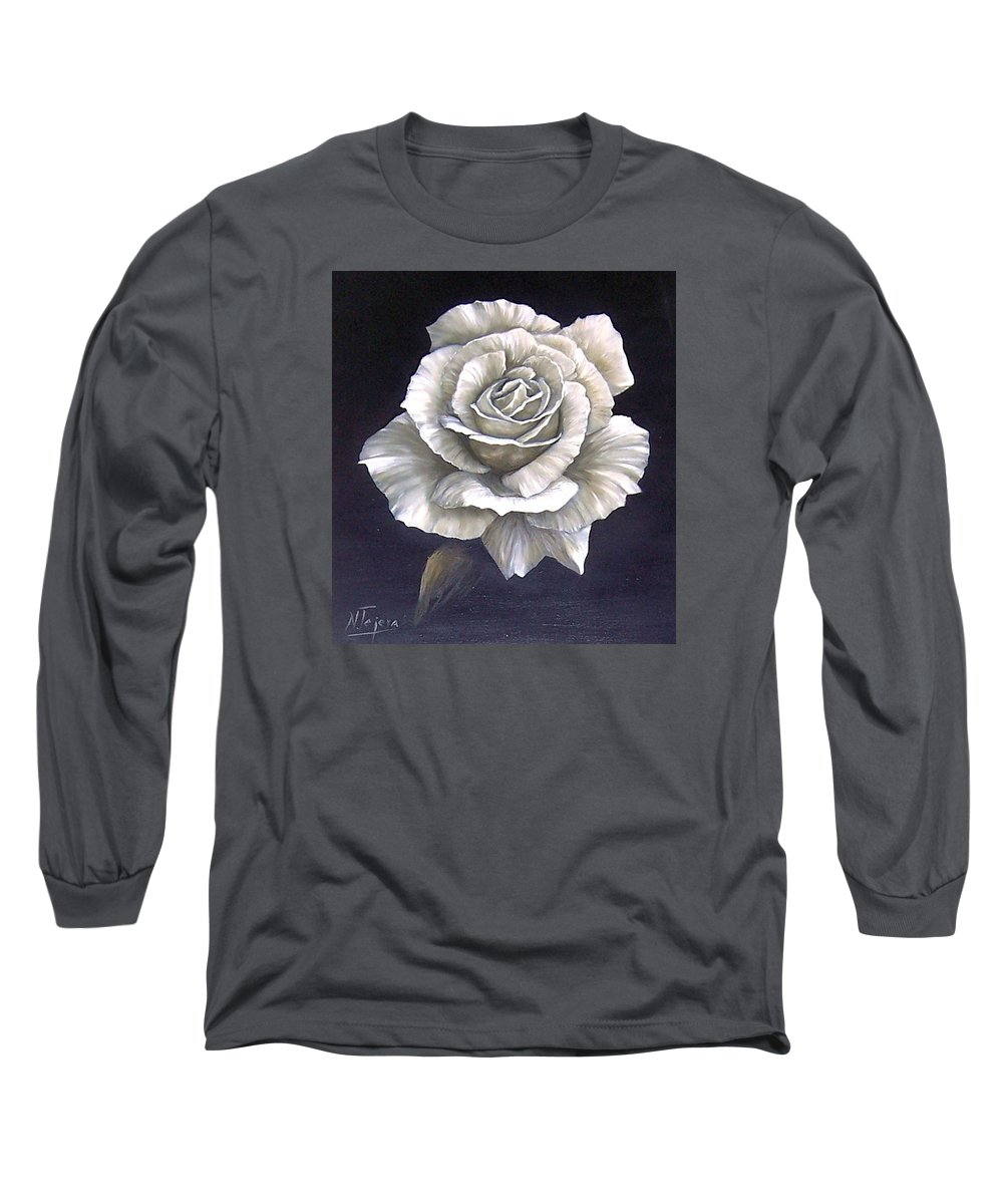 Rose Flower Long Sleeve T-Shirt featuring the painting Opened Rose by Natalia Tejera