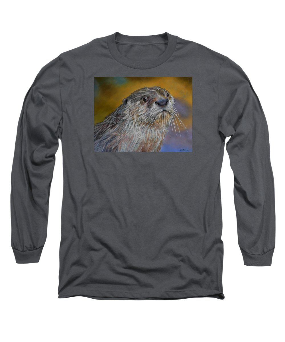 River Otter Long Sleeve T-Shirt featuring the painting Otter Or Not by Ceci Watson