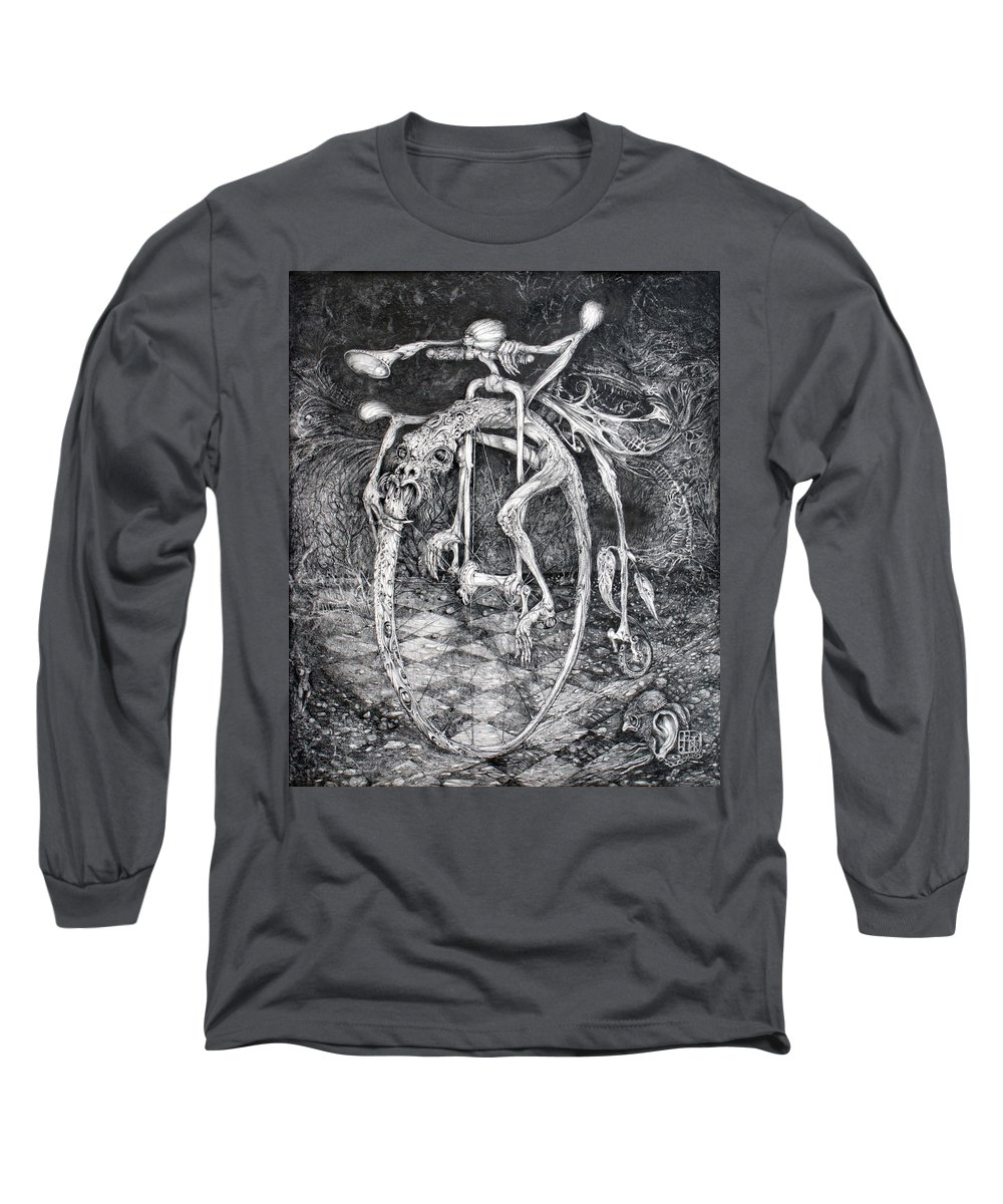 Ouroboros Long Sleeve T-Shirt featuring the drawing Ouroboros Perpetual Motion Machine by Otto Rapp