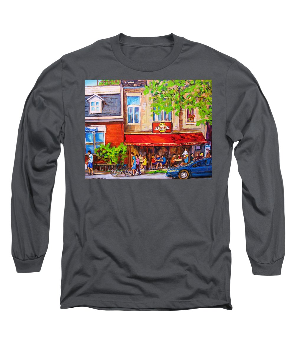 Montreal Long Sleeve T-Shirt featuring the painting Outdoor Cafe by Carole Spandau