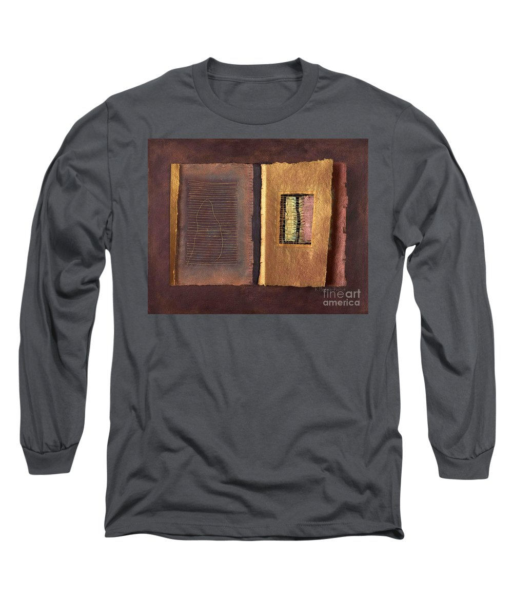 Pageformat Long Sleeve T-Shirt featuring the painting Page Format No 2 Transitional Series by Kerryn Madsen-Pietsch