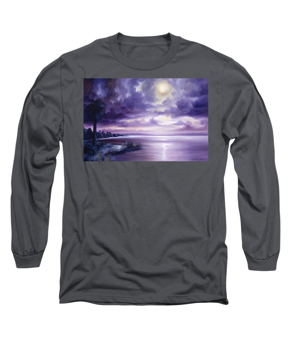 Moon Long Sleeve T-Shirt featuring the painting Palmetto Moonscape by James Christopher Hill