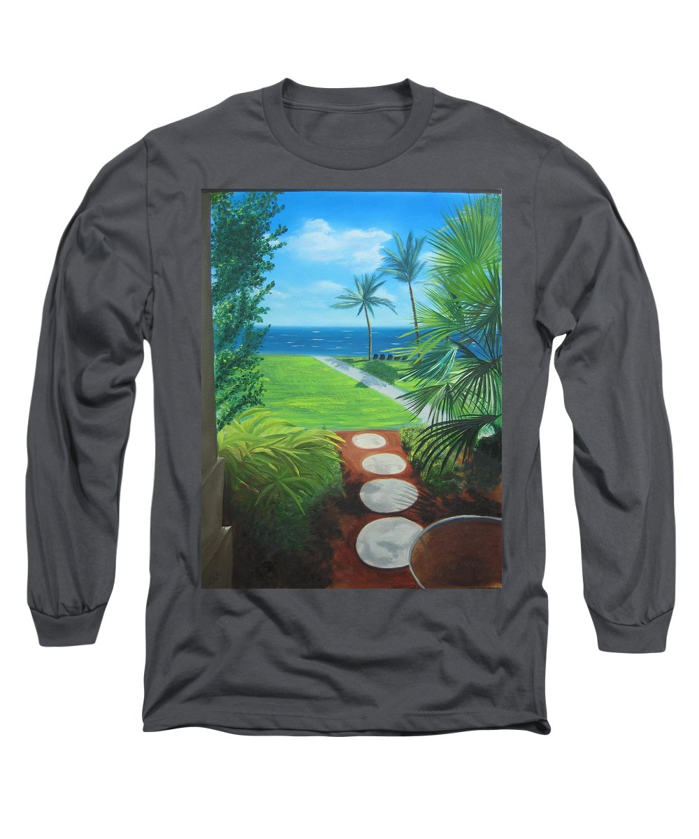 Seascape Long Sleeve T-Shirt featuring the painting Paradise Beckons by Lea Novak