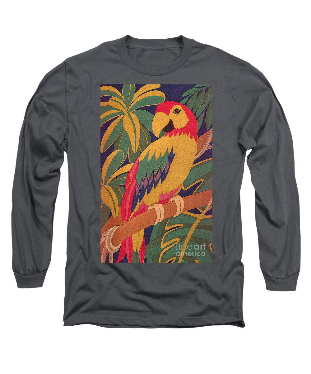 Nature Long Sleeve T-Shirt featuring the drawing Parrot by Lucyna A M Green