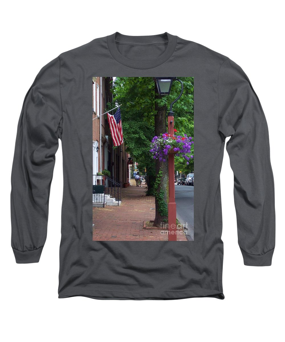 Cityscape Long Sleeve T-Shirt featuring the photograph Patriotic Street In Philadelphia by Debbi Granruth